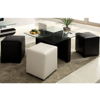 Furniture of America Mitch Contemporary 2-tone 8 mm Glass 4-Ottoman Nesting Table Set