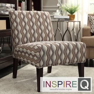INSPIRE Q Peterson Mocha Wavy Stripe Slipper Chair