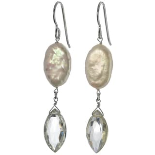 Ashanti Silver Mint Green Amethyst Briolette and FW Coin Pearl Earrings (Sri Lanka)