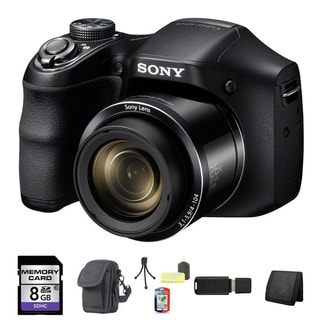 Sony Cyber-shot DSC-H200 20.1MP Black Digital Camera 8GB Bundle