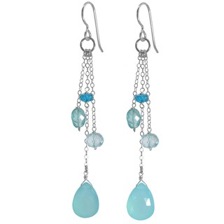 Ashanti Silver Aqua Chalcedony Briolette, Apatite and Quartz Earrings (Sri Lanka)