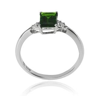 De Buman Silver Genuine Chrome Diopside and White Topaz Ring