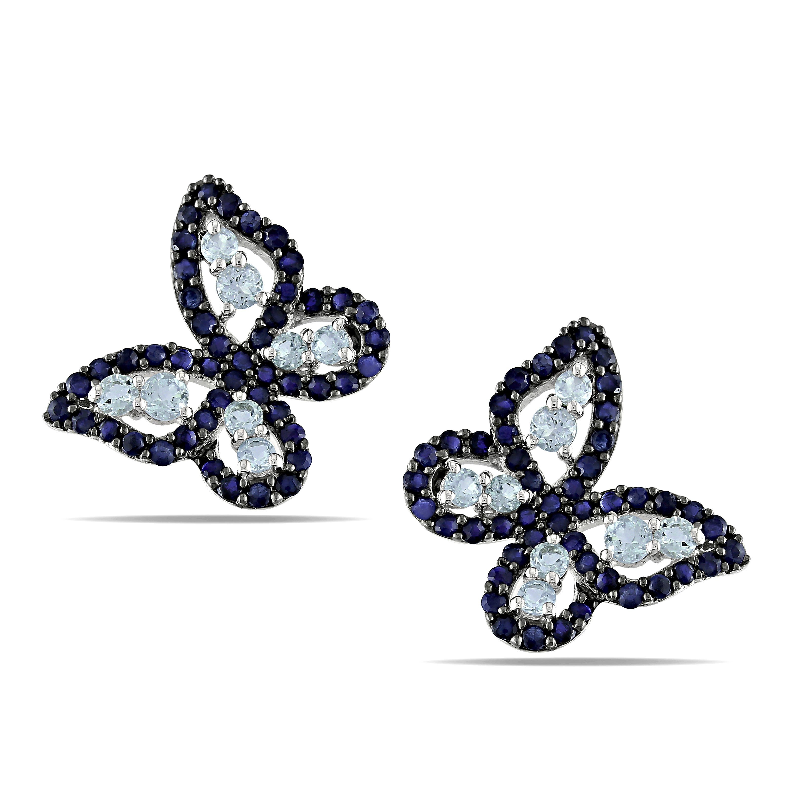 Miadora Sterling Silver Blue Topaz and Sapphire Butterfly Earrings
