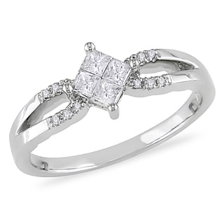 Miadora 10k White Gold 1/4ct TDW Princess Composite Diamond Ring (H-I, I2-I3)
