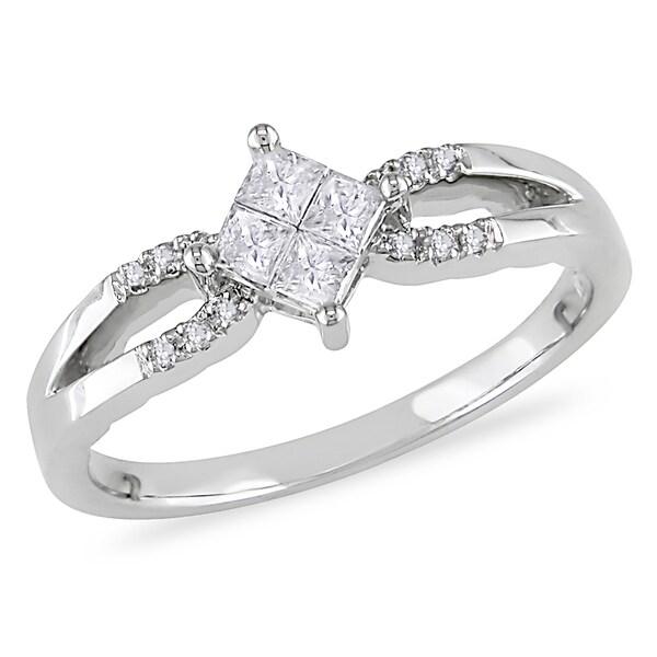 Miadora 10k White Gold 1/4ct TDW Princess Composite Diamond Ring (H-I, I2-I3)