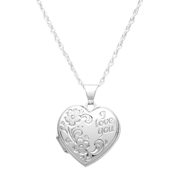Sterling Silver 'I Love You' Heart Locket Necklace