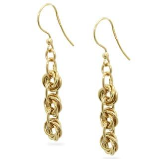Gioelli 14k Yellow Gold Knot Link Dangle Earrings