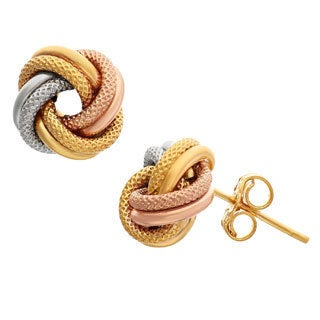Gioelli 14k Tri-color Gold Love Knot Earrings