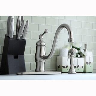 Vintage Satin Nickel Kitchen Faucet with Side Sprayer