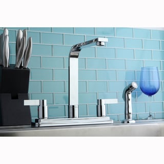 Chrome Two-handle Kitchen Faucet with Sidesprayer