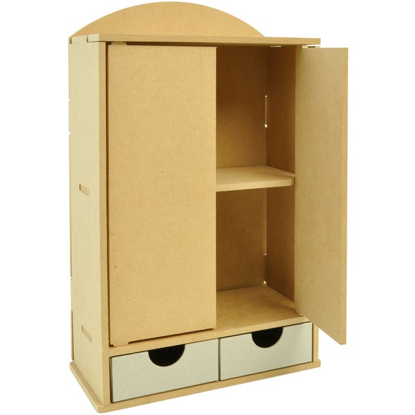 "Beyond The Page MDF 2-Door Wardrobe Storage With 2 Drawers-14.25""X8.5""X4.25"" (360x220x105mm)"