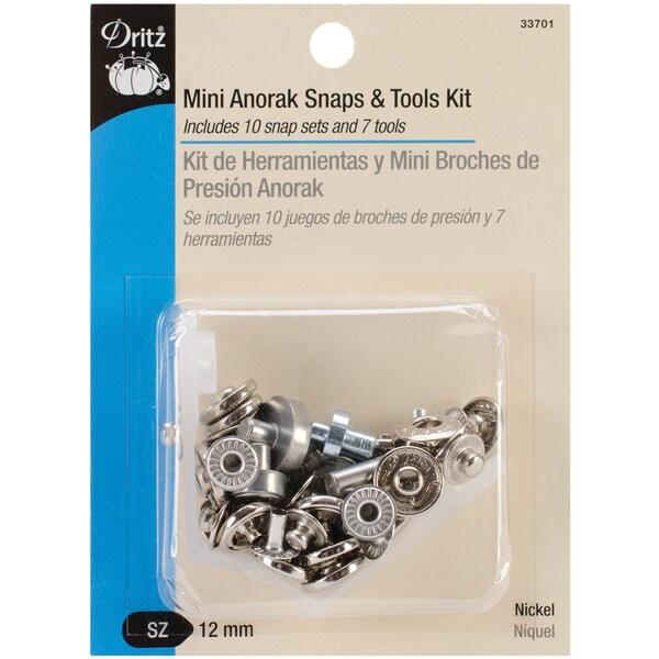 "Mini Anorak Snaps & Tools 5/32"" 10 Sets-Nickel"