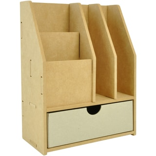 "Beyond The Page MDF 4-Slot Stationery Organizer With Drawer-11.5""X8.75X4.25"" (290x220x115mm)"