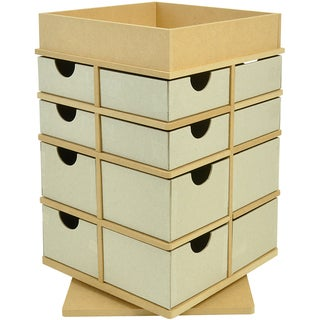 "Beyond The Page MDF Turntable Drawers With Tray Top-12.75""X8.25""X8.25"" (325x210x210mm)"