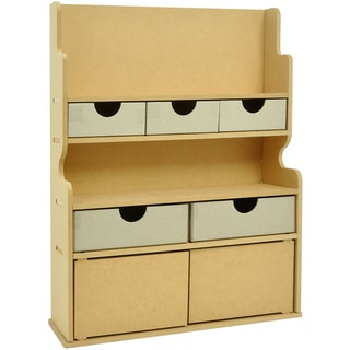 "Beyond The Page MDF 2-Door Storage Hutch With 5 Drawers-16.5""X12.5""X3.5"" (420x315x90mm)"