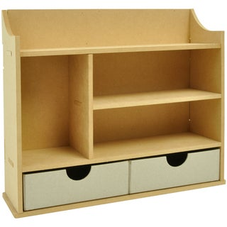 """Beyond The Page MDF Shadow Box Shelves With 2 Drawers-10.5""""X12.25""""X3.5"""" (270x310x90mm)"""