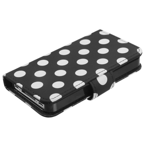 BasAcc White Dots /Black MyJacket Wallet Case for Apple iPhone 4/ 4S