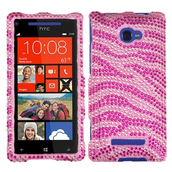 INSTEN Pink/ Hot Pink Zebra Diamante Phone Case Cover for HTC Windows Phone 8X