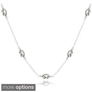 Mondevio Sterling Silver Polished Love Knot Chain Station Necklace