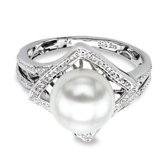 DaVonna 14k White Gold White Round Akoya Pearl Illusion Ring (9-9.5 mm)