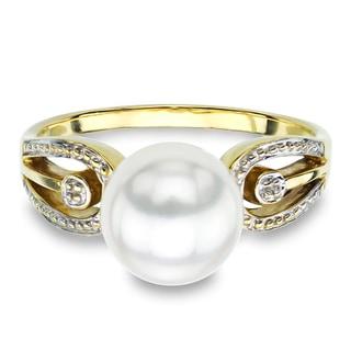 DaVonna 14k Yellow Gold White Round Akoya Pearl Illusion Ring (9-10 mm)