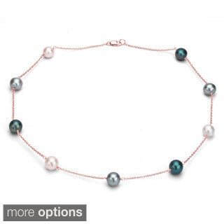 DaVonna Sterling Silver Multi-colored Cultured Pearl Tin Cup Necklace (9-10 mm)