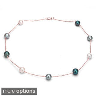 DaVonna Sterling Silver Chain and Multi-colored Cultured Pearl Necklace (9-10 mm)