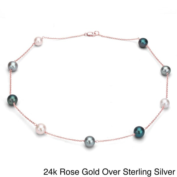 DaVonna Sterling Silver Multi-colored Cultured Pearl Tin Cup Necklace (9-10 mm) 12989435