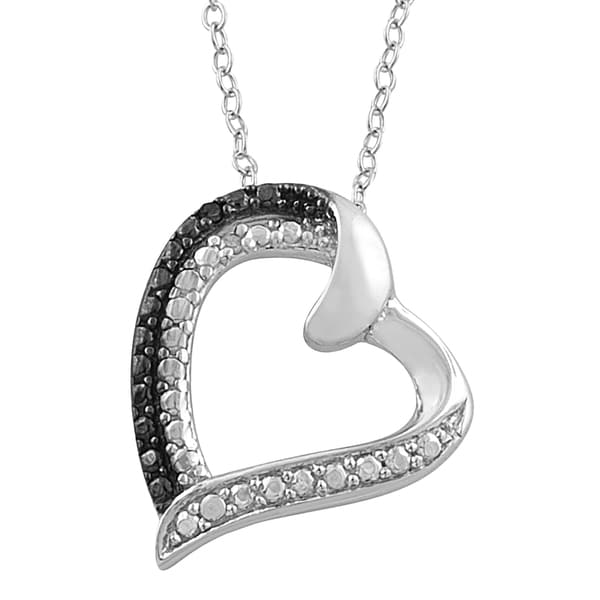 Fremada Sterling Silver Black and White Diamond Accent Heart Necklace