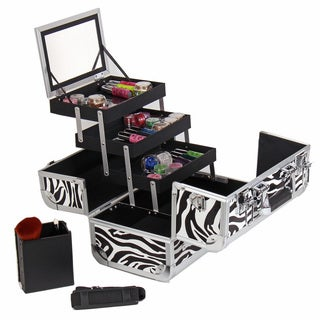 Shany Zebra Premium Makeup Train Case