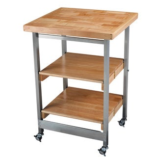 Oasis Concepts Stainless Steel/ Wood Folding Kitchen Island