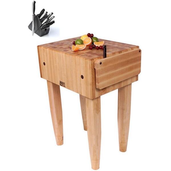 John Boos PCA1 Pro Chef Butcher Block 18 x 18 Table and Henckels 13-piece Knife Block Set