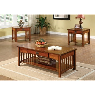 Furniture of America Nash Mission Style 3-piece Antique Oak Finish Coffee/ End Table Set