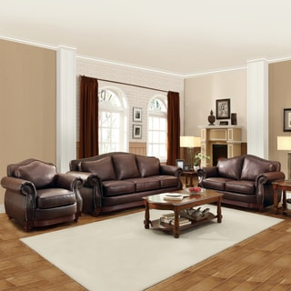 Myles Traditional Chocolate Bonded Leather Rolled Arm 3-piece Sofa Set