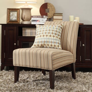 INSPIRE Q Peterson Mocha Brown Stripe Slipper Chair