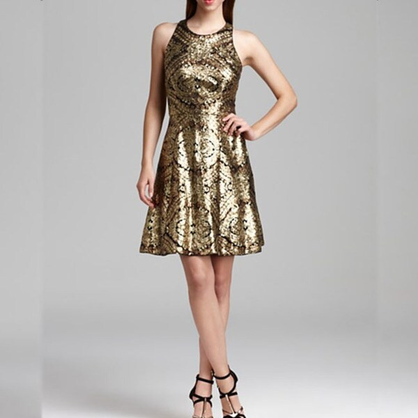 Adrianna Papell Women's Racerback Gold Sequin A-line Dress
