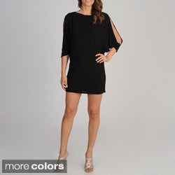 Betsy & Adam Women's Cold Shoulder Batwing Dress