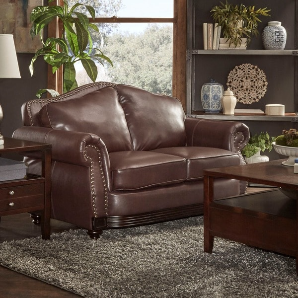 TRIBECCA HOME Myles Traditional Chocolate Bonded Leather Rolled Arm Loveseat