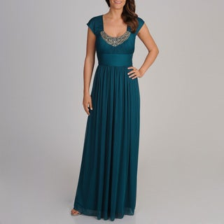 Decode 1.8 Women's Teal Embellished Neckline Gown