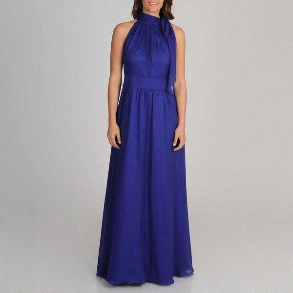 Decode 1.8 Women's Blueberry Halter Neck-tie Gown