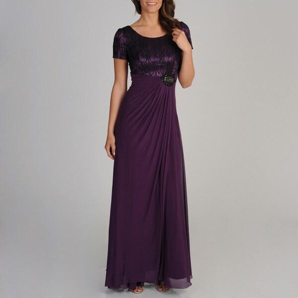 Decode 1.8 Women's Plum Novelty Swirl Embroidered Gown