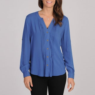 Spense Women's Blue Cloud Pintucked Blouse