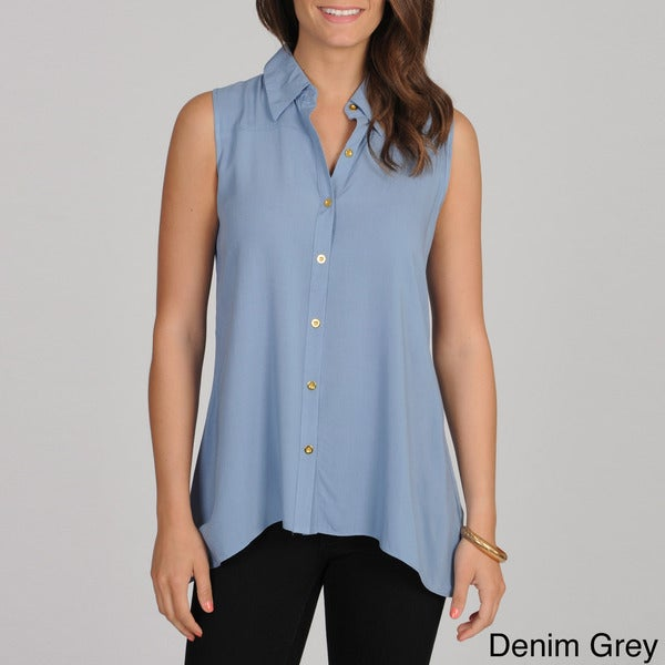 Spense Women's Button-up Shark Bite Tank