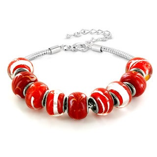 Silvertone Red, White and Black Murano Glass Bead Bracelet