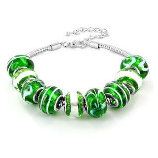 Silvertone Green, White and Black Murano Glass Bead Bracelet
