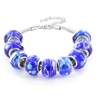 Silvertone Blue, White and Black Murano Glass Bead Bracelet