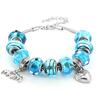 Silvertone Blue Murano Glass Bead and 'Mom' Heart Charm Bracelet