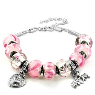 Silvertone Pink Murano Glass Bead and 'Mom' Heart Charm Bracelet