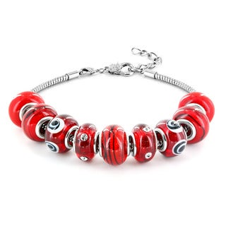 Silvertone Cherry Red Murano Glass Bead Bracelet