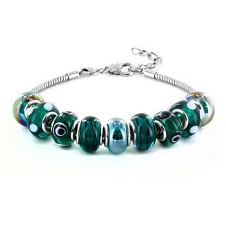 Silvertone Marine Blue Murano Glass Bead Bracelet